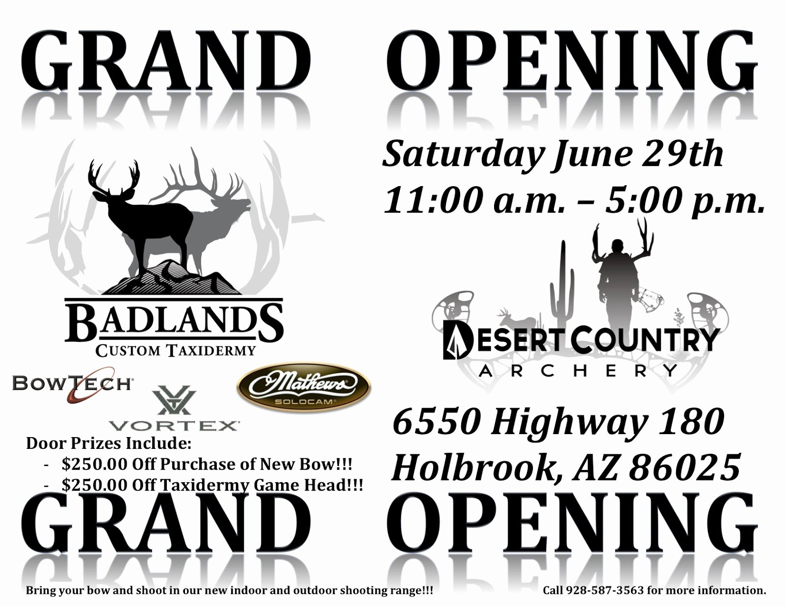 Grand Opening Flyer Template Fresh Badlands Custom Taxidermy Desert Country Archery Grand Opening