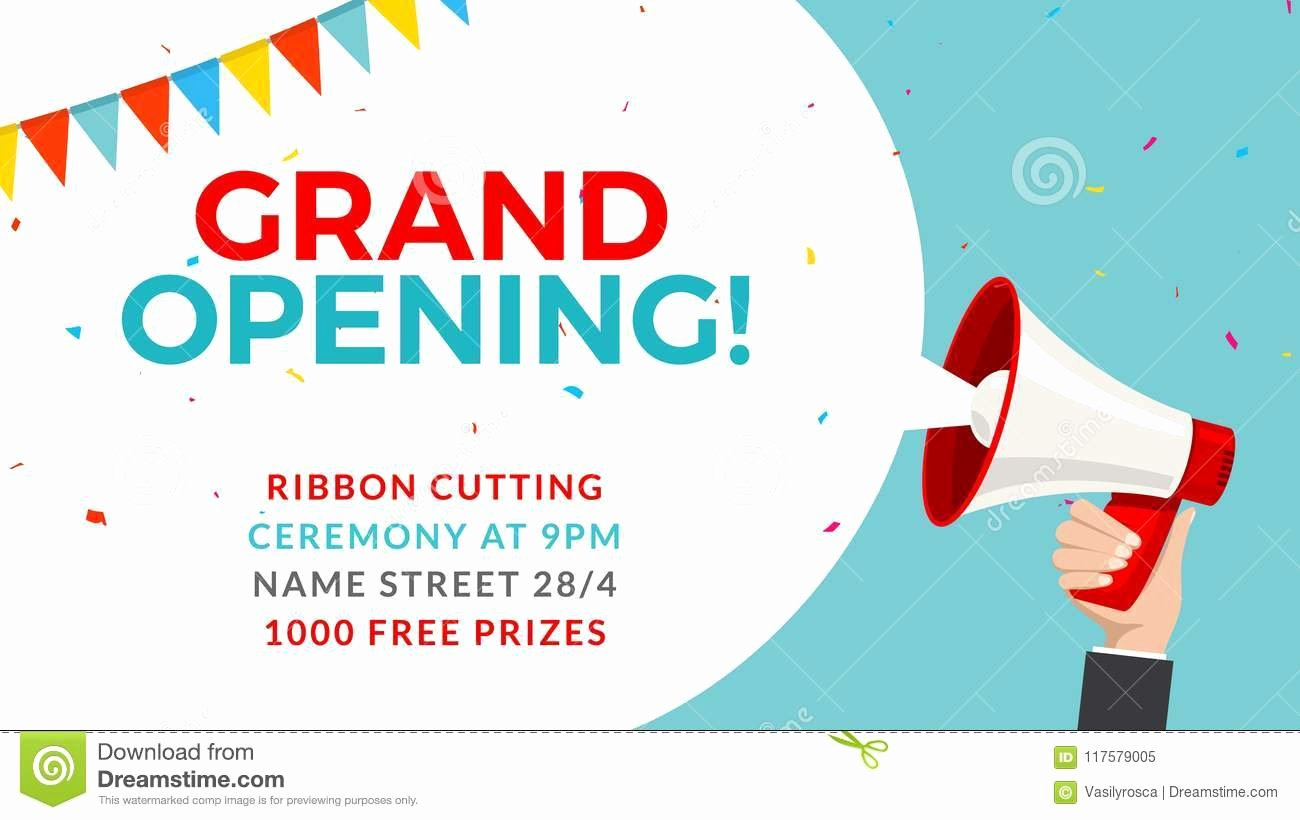 Grand Opening Flyer Template Lovely Grand Opening Flyer Banner Template Marketing Business Concept with Megaphone Grand Opening