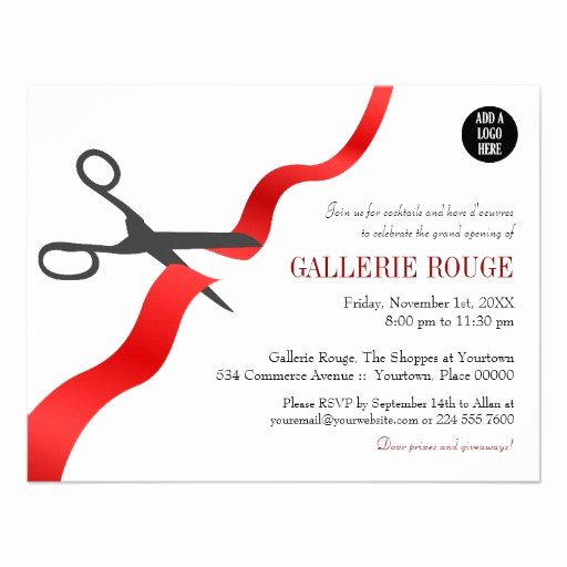 simple red ribbon cutting grand opening invitation