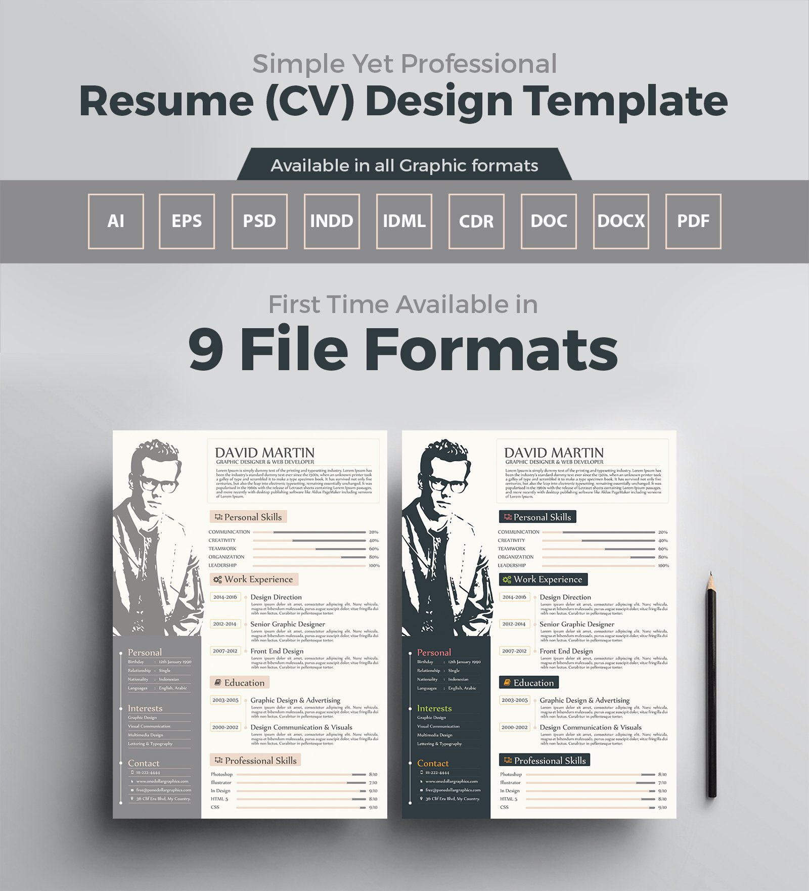 Graphic Designer Resume Pdf Best Of Simple yet Professional Resume Cv Design Templates In Ai Eps Psd Pdf Cdr Doc Docx Indd