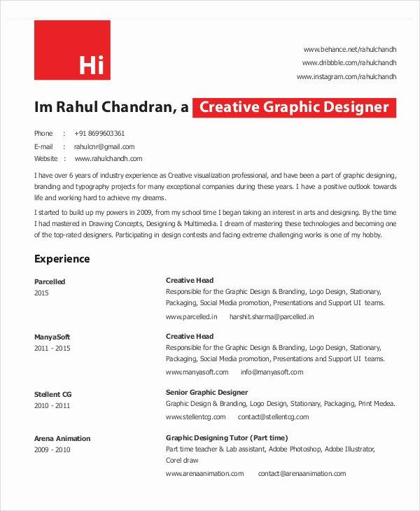 Graphic Designer Resume Pdf Elegant Graphic Designer Resume