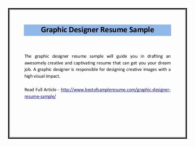 Graphic Designer Resume Pdf Fresh Graphic Designer Resume Sample Pdf