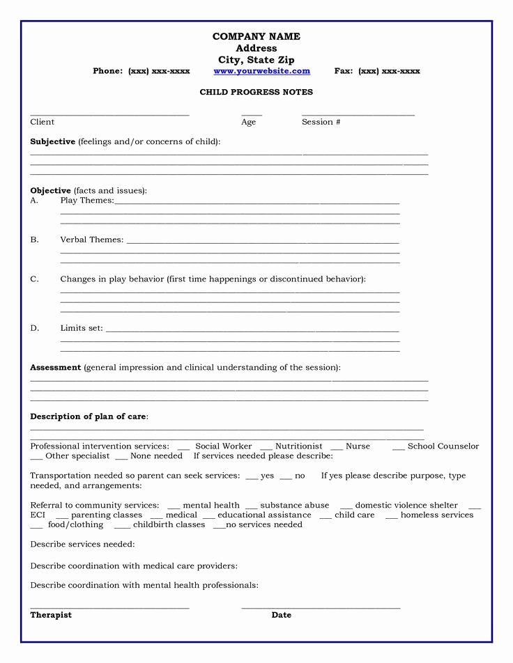 Group therapy Note Template Best Of Home Child Progress Notes Medicaid Child Progress Notes Play therapy