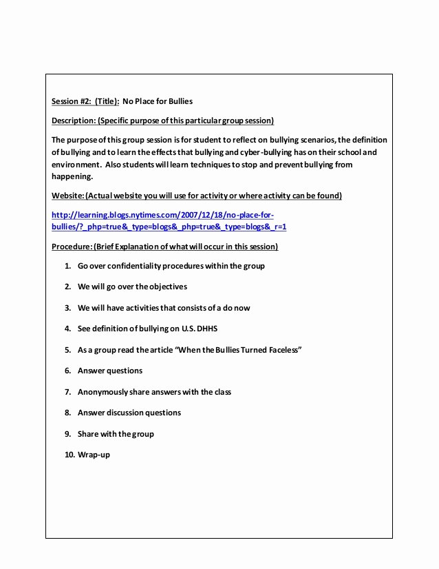 Group therapy Note Template Lovely Small Group Counseling Project Lessons Template
