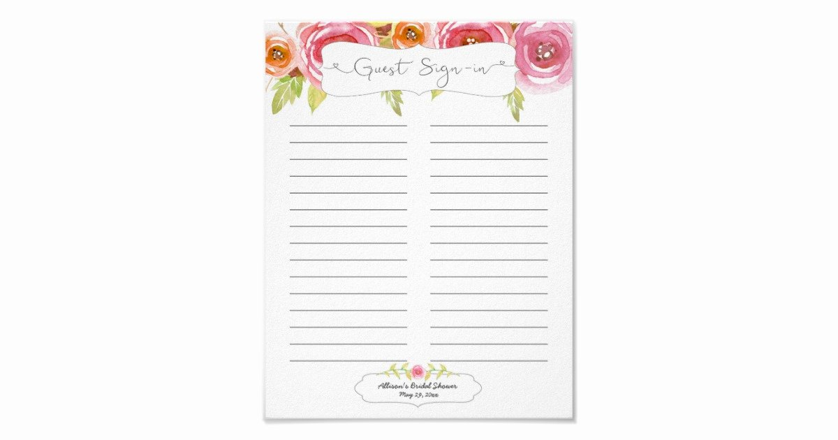 Guest Sign In Sheet Awesome Bridal Shower Guest Sign In Sheet Pink Floral Poster