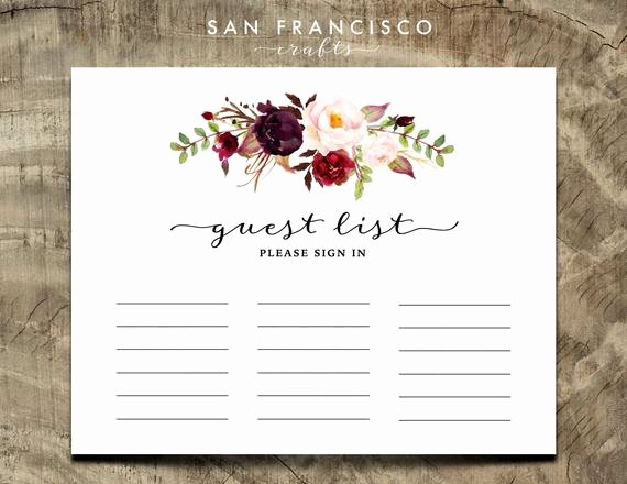 Guest Sign In Sheet Awesome Printable Guest List Sign In Sheet Guestbook Alternative