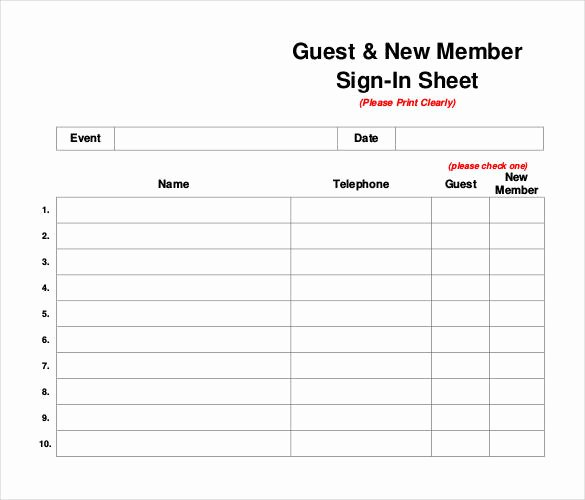 Guest Sign In Sheet Best Of 75 Sign In Sheet Templates Doc Pdf
