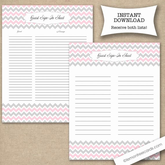 Guest Sign In Sheet Fresh Pink Guest Sign In Sheet Two Versions Included Pink Gray