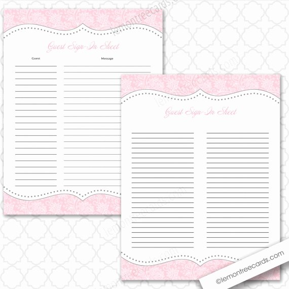 Guest Sign In Sheet Lovely Pink Guest Sign In Sheet Two Versions Included Baby Shower