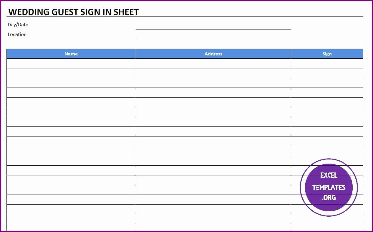 Guest Sign In Sheet Lovely Wedding Guest Sign In Sheet Template