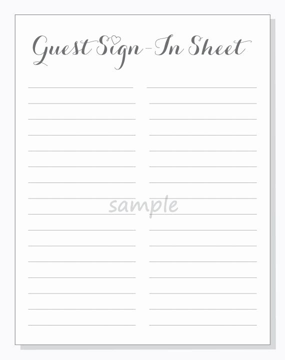 Guest Sign In Sheet New Diy Guest Sign In Sheet Printable for A by