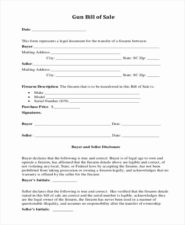 Gun Bill Of Sale Florida Lovely Free 8 Sample Gun Bill Of Sale forms In Pdf