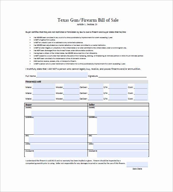 Gun Bill Of Sale Florida New Gun Bill Of Sale Template – 10 Free Word Excel Pdf format Download