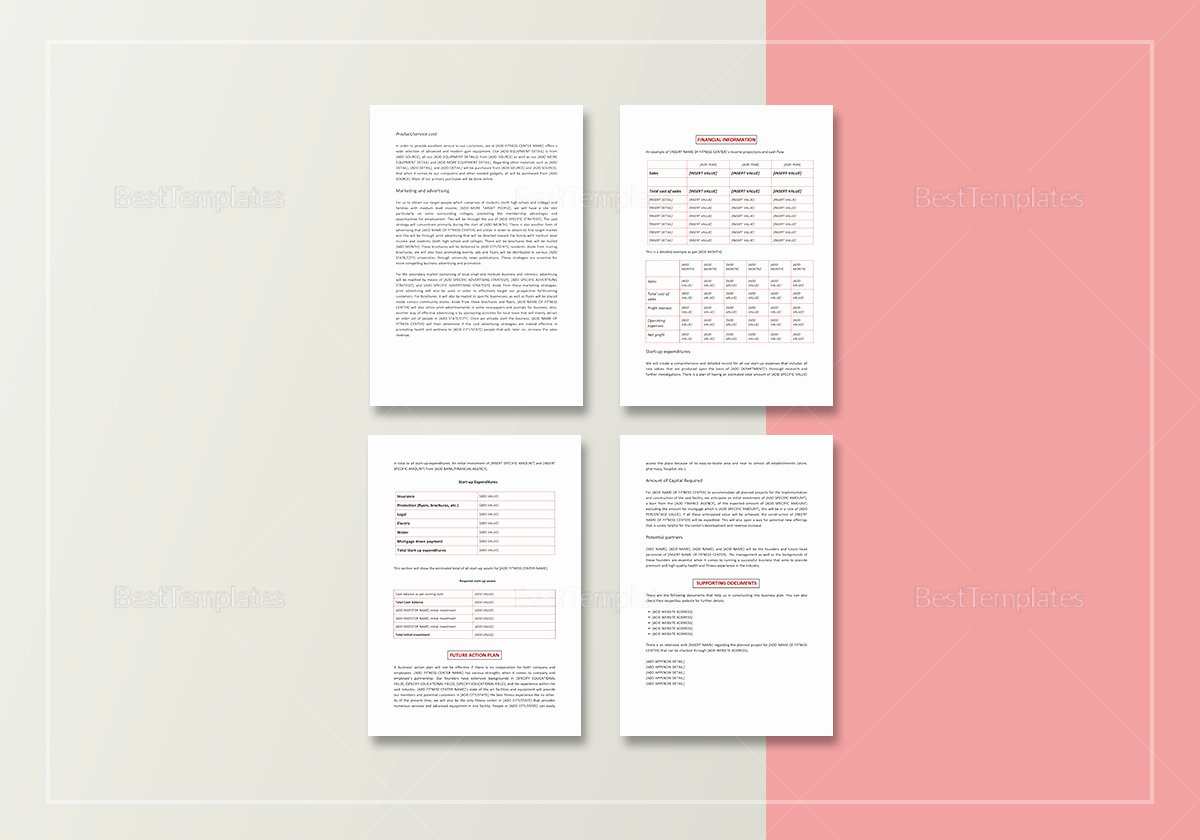 Gym Business Plan Pdf Beautiful Gym Business Plan Template In Word Google Docs Apple Pages