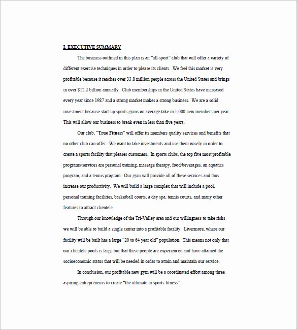 Gym Business Plan Pdf Unique Gym Business Plan Template 16 Free Word Excel Pdf