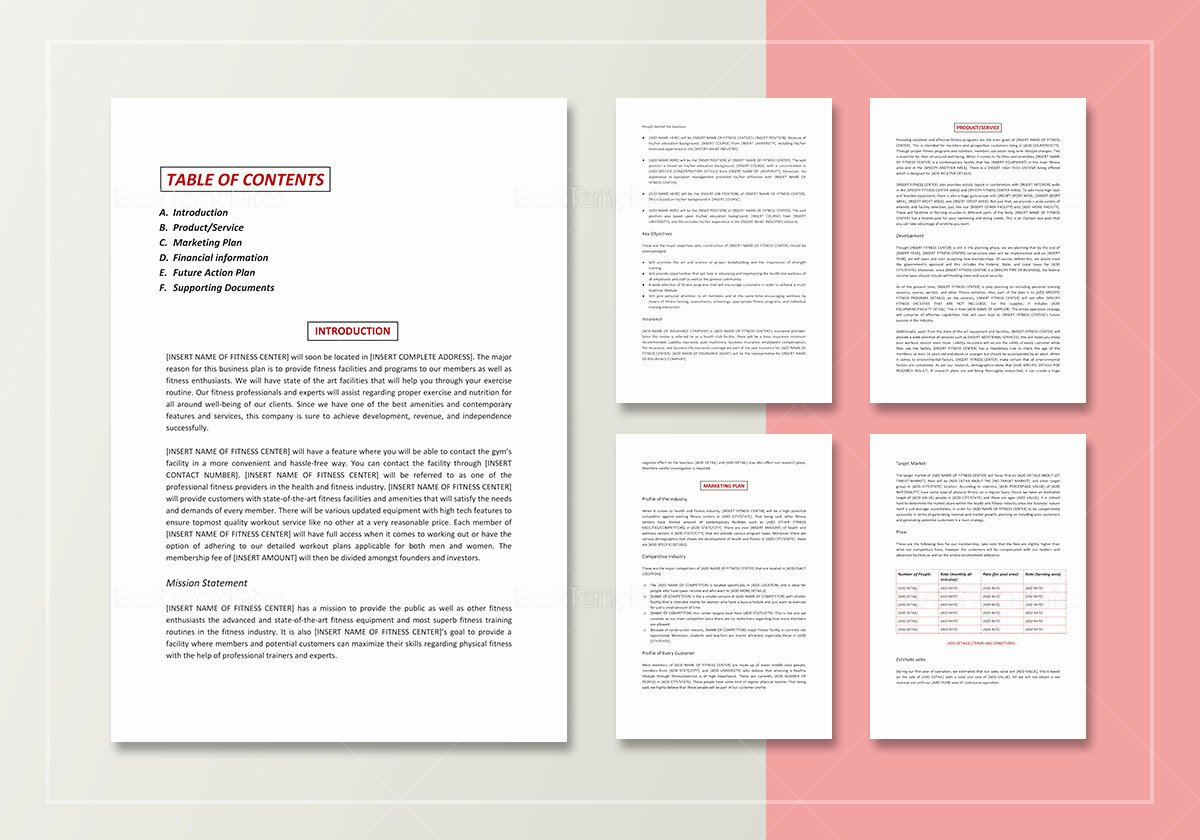 Gym Business Plan Pdf Unique Gym Business Plan Template In Word Google Docs Apple Pages