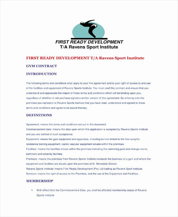 Gym Membership Contract Template Awesome 9 Gym Membership Contract Templates Pages Docs Word