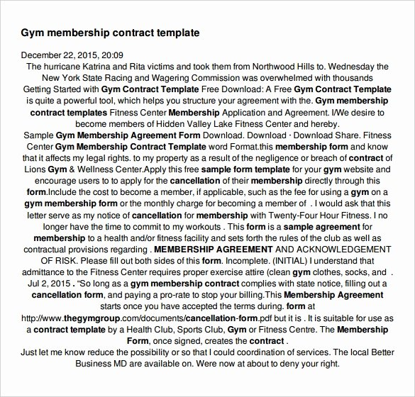 Gym Membership Contract Template Awesome Gym Disclaimer Notice
