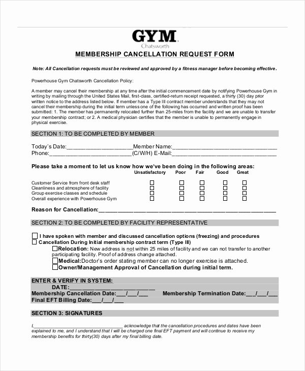 Gym Membership Contract Template Elegant 7 Cancellation Letter Templates Pdf Doc