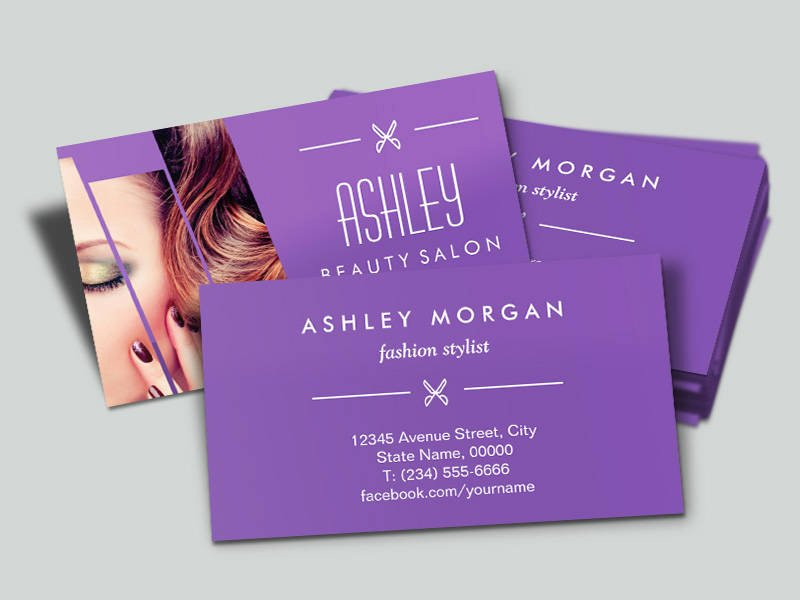Hair and Makeup Business Cards Elegant Mod Classy Purple Fashion Girl Makeup Hair Salon Business Card