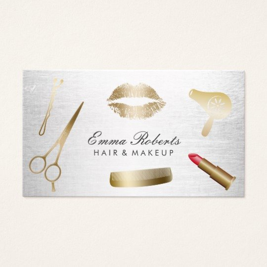 Hair and Makeup Business Cards New Makeup Artist Hair Stylist Modern Gold & Silver Business Card