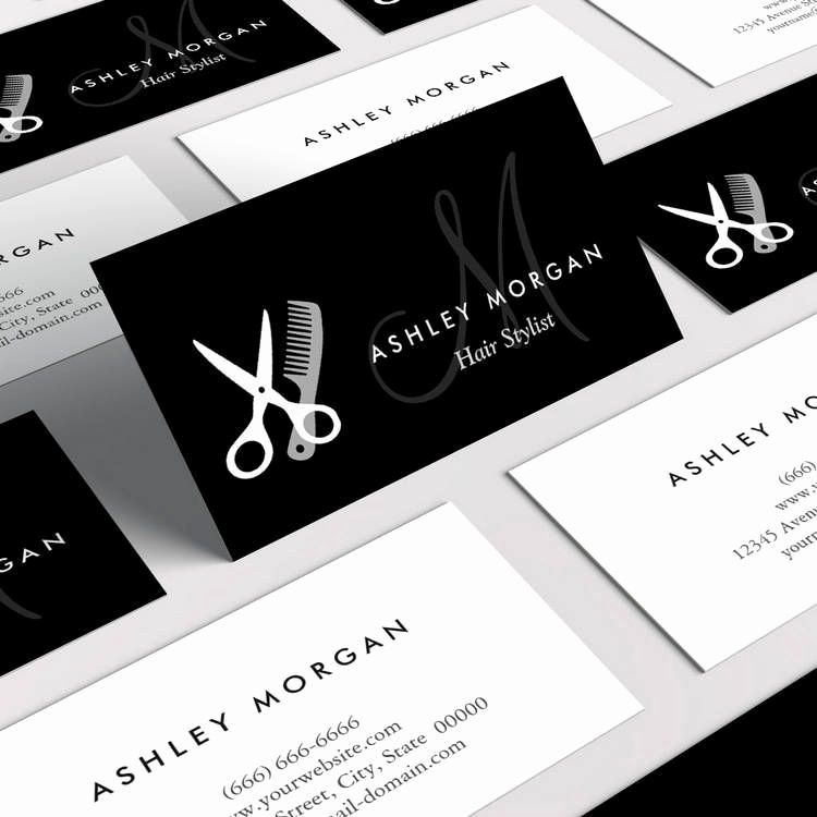 Hair Salon Buisness Cards Fresh Black White Monogrammed Hair Salon Hairstylist Business Card Template