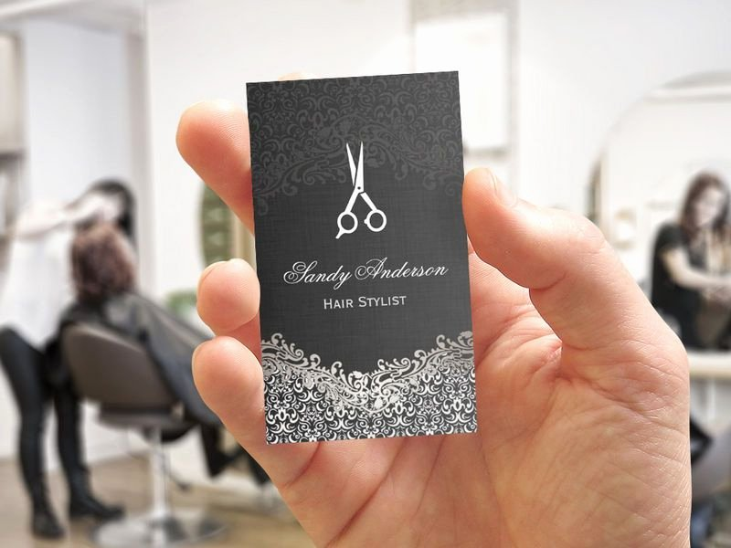 Hair Salon Buisness Cards Inspirational Elegant Dark Silver Damask Hair Stylist Business Card Template In 2019