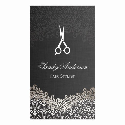 Hair Salon Buisness Cards Unique Elegant Dark Silver Damask Hair Stylist Double Sided Standard Business Cards Pack 100