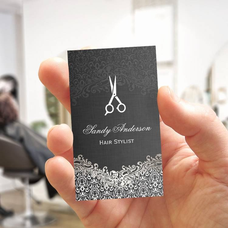 Hair Salon Business Card Beautiful Elegant Dark Silver Damask Hair Stylist Pack Standard Business Cards