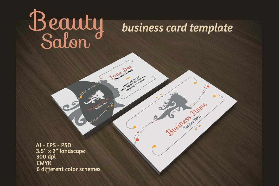 Hair Salon Business Card Luxury Beauty Salon Business Card Business Card Templates Creative Market