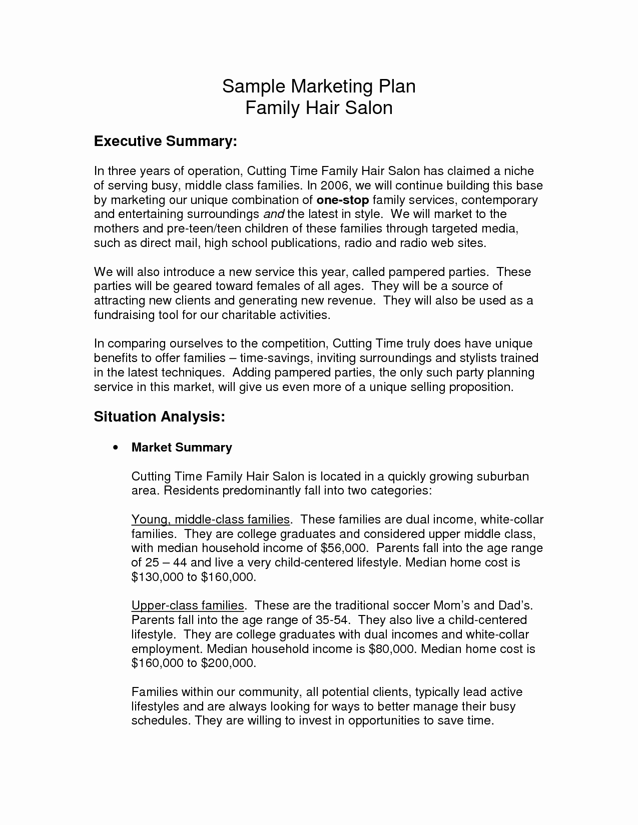 Hair Salon Business Plan Pdf Awesome Hair Salon Business Plan Sample