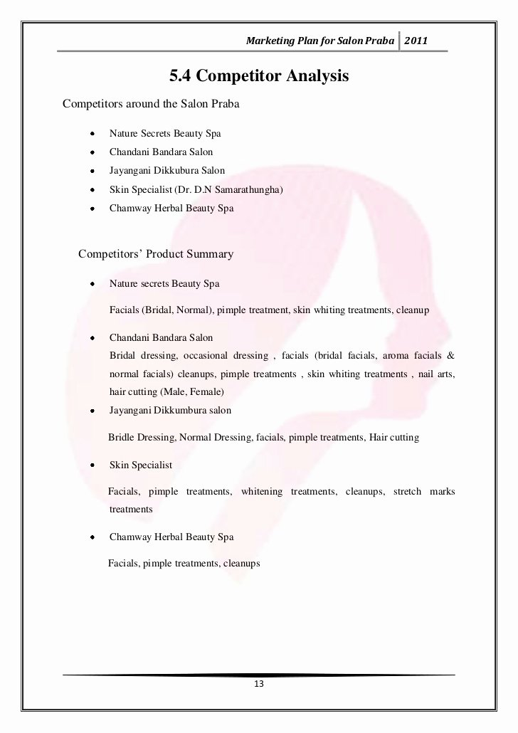 Hair Salon Business Plan Pdf Inspirational Marketing Plan for Salon Praba