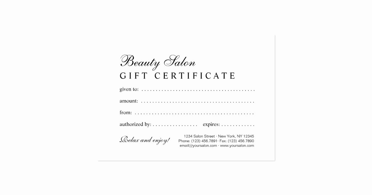 Hair Salon Gift Certificate Best Of Elegant Blank Beauty Salon Gift Certificate Business Card