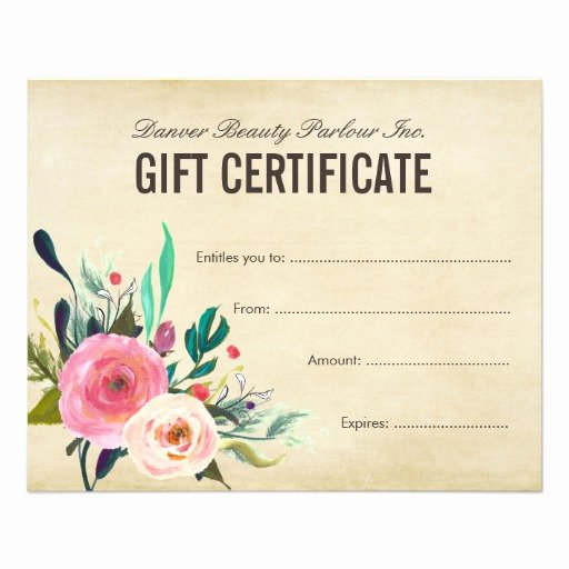 Hair Salon Gift Certificate Fresh Painted Floral Beauty Salon Gift Certificate Flyer