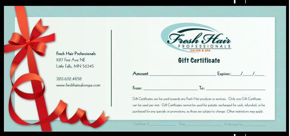 Hair Salon Gift Certificate Lovely Hair Salon and Spa In Little Falls Minnesota