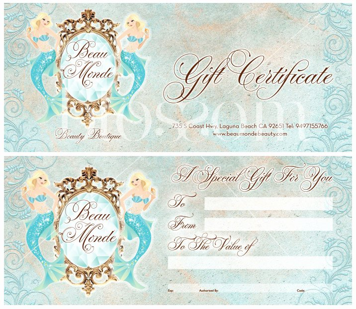 Hair Salon Gift Certificate Luxury Miss Blossom Design™ Logo Branding and Graphic Nd Web Design Boutique Custom Gift Certificate