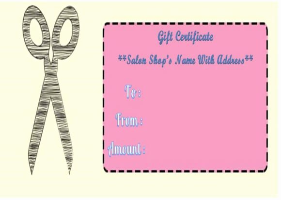 Hair Salon Gift Certificate Template Best Of Haircut T Certificate Templates Salon Gift Certificate Templates