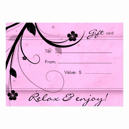 Hair Salon Gift Certificate Template New Salon Gift Card Spa Flower Watery Pink Business Cards Pack 100
