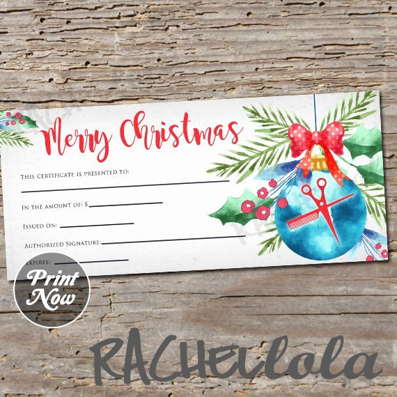 Hair Salon Gift Certificate Template Unique Christmas ornament Hair Salon Printable Gift Certificate Template Hair Stylist Gift Voucher