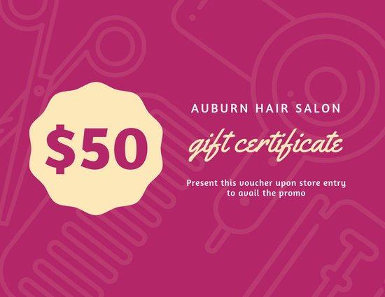 Hair Salon Gift Certificate Template Unique Customize 52 Hair Salon Gift Certificate Templates Online Canva