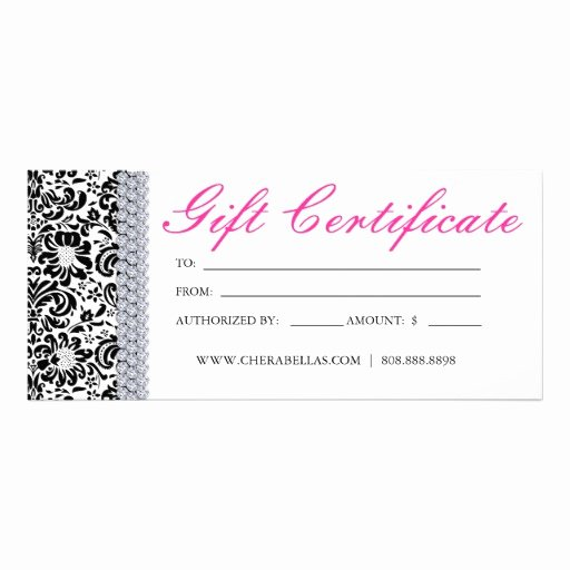 Hair Salon Gift Certificate Unique Gift Certificates Salon Spa Pink Crown Jewellery Rack Card Template