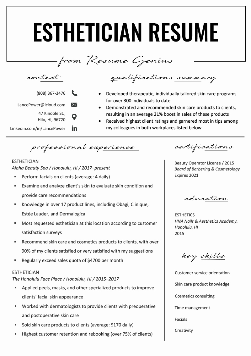Hair Stylist Bios Samples Unique Esthetician Resume Example & Writing Tips
