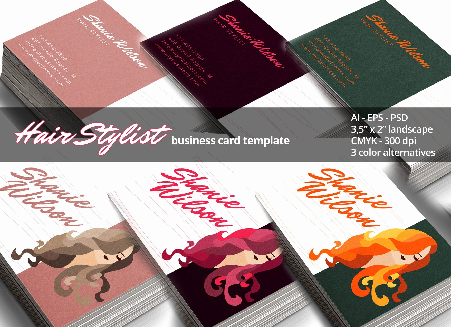 Hair Stylist Business Cards Unique Hair Stylist Business Card Business Card Templates Creative Market