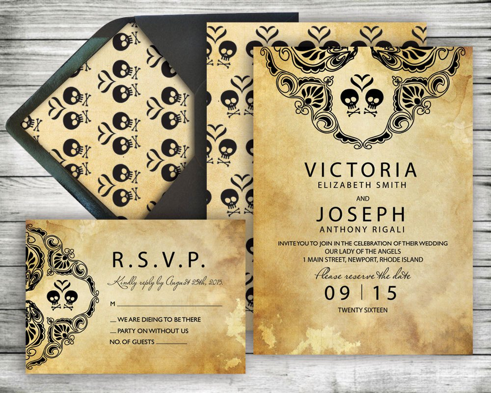 Halloween Wedding Invitation Wording Awesome Halloween Wedding Invitation & Rsvp Set Rustic Black Lace