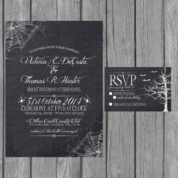 Halloween Wedding Invitation Wording Beautiful Halloween Wedding Invitation Chalkboard Engagement Party