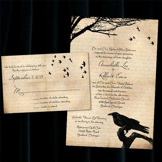 Halloween Wedding Invitation Wording Elegant Custom Raven Halloween Wedding Invitations