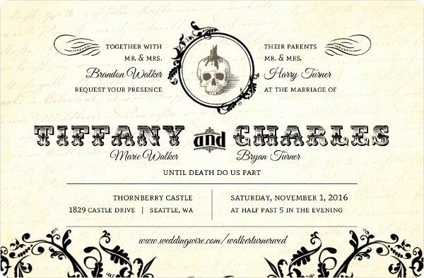 Halloween Wedding Invitation Wording Elegant Vintage Cream Monogram Halloween Wedding Invitation