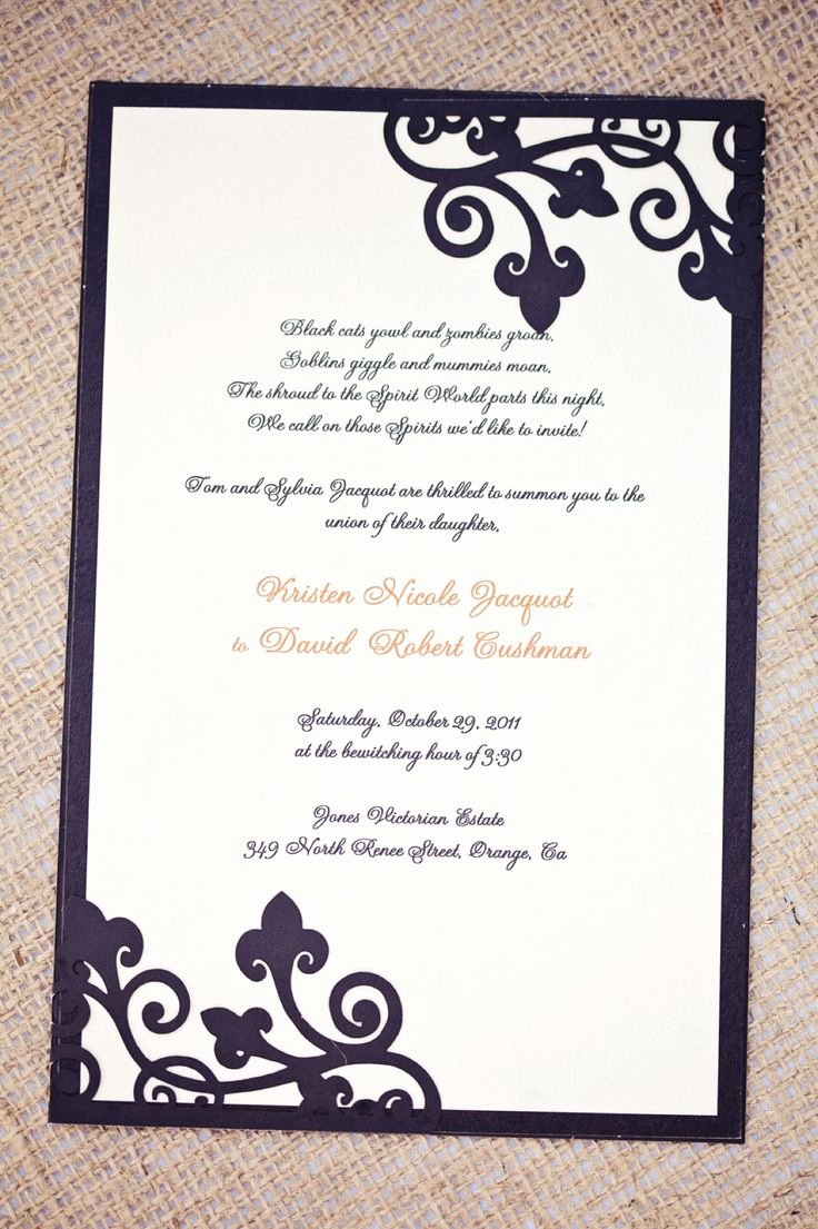 Halloween Wedding Invitation Wording Inspirational 197 Best Images About Wedding Invitation Ideas for My Wedding someday On Pinterest