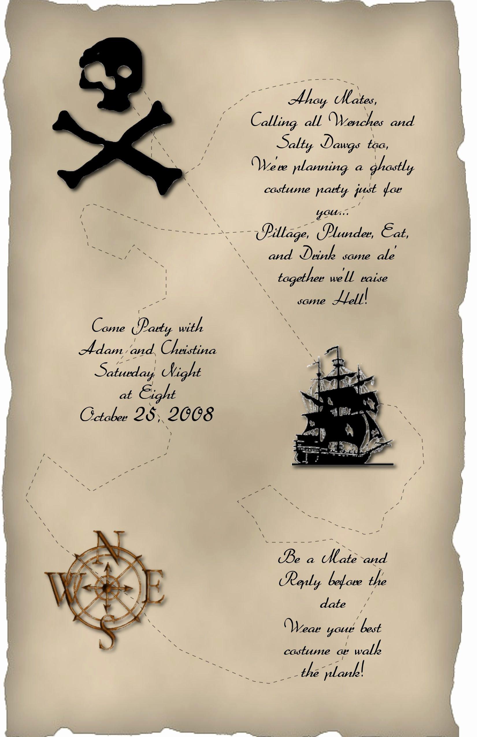 Halloween Wedding Invitation Wording Inspirational Halloween Invitation Wording Pirate theme Halloween Pinterest