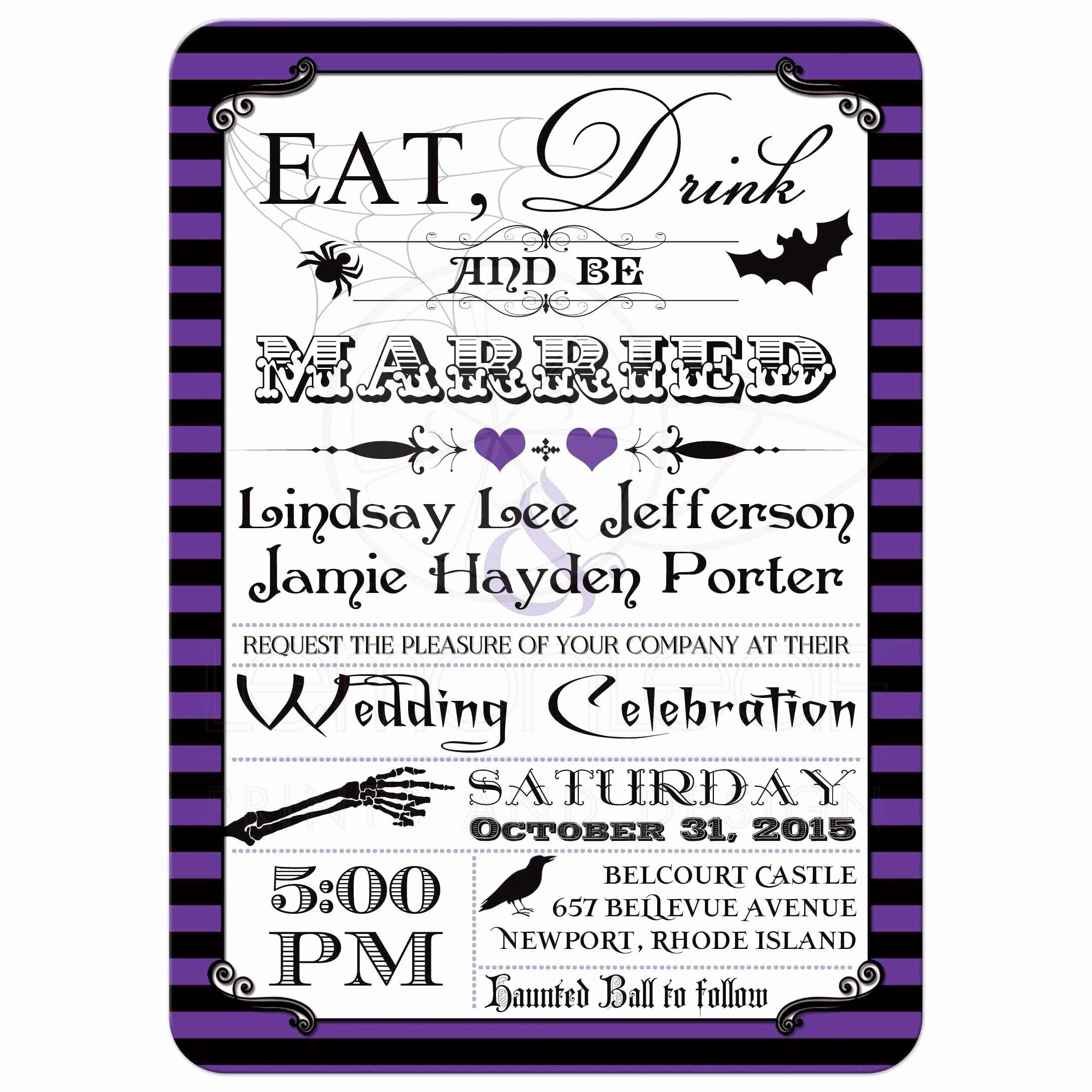 Halloween Wedding Invitation Wording Inspirational Halloween Wedding Invitation Purple Black Stripes